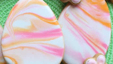 Marbled royal icing cookies –  4 different designs – Tips for writing on cookies