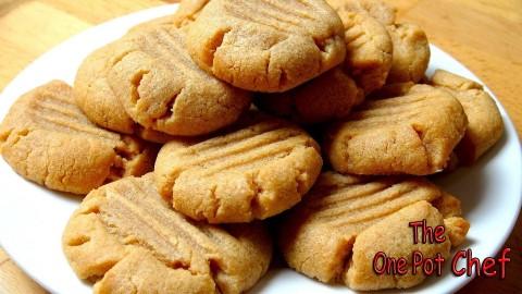 3 Ingredient Peanut Butter Cookies   One Pot Chef