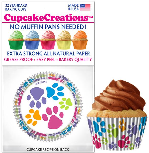 paw print cupcake baking cups